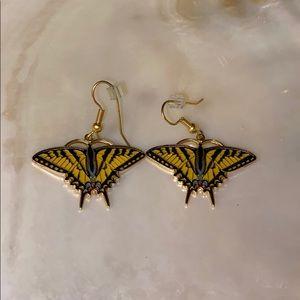 Cloisonné enamel butterfly earrings
